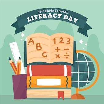 Día internacional de la alfabetización con libros y cartas.