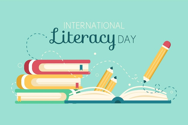 Día internacional de la alfabetización con libros y lápiz.