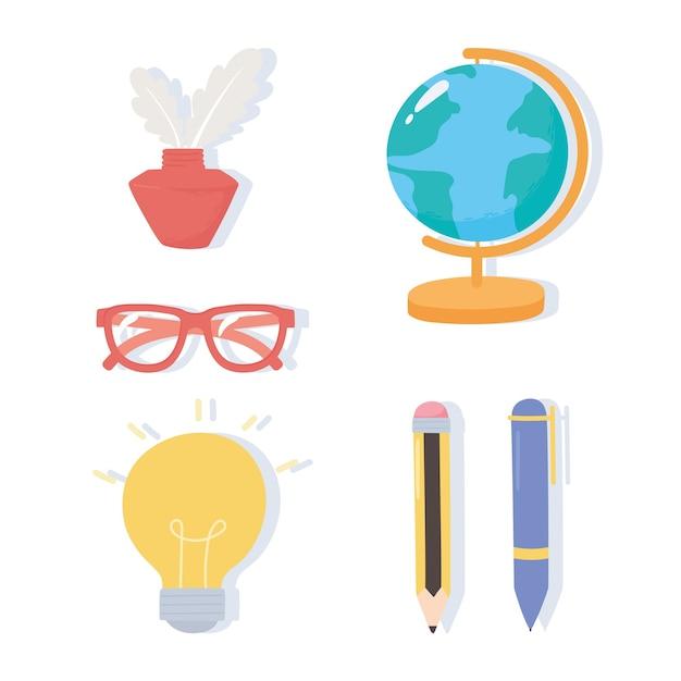 Día internacional de la alfabetización, mapa escolar, tinta, gafas, bolígrafo, lápices, iconos