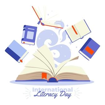 Día internacional de la alfabetización con muchos libros.