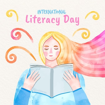 Día internacional de la alfabetización mujer leyendo