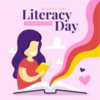 Día internacional de la alfabetización con mujer y libro.