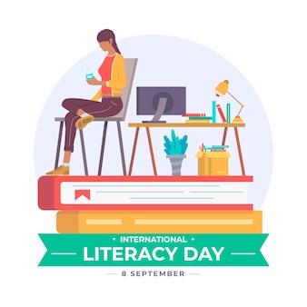 Día internacional de la alfabetización con mujer y libros.