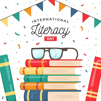 Día internacional de la alfabetización pila de libros
