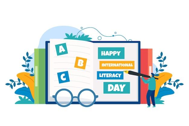 Día internacional de alfabetización plana