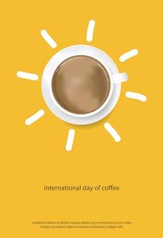 Día internacional del café cartel anuncio flayers ilustración vectorial Vector Premium