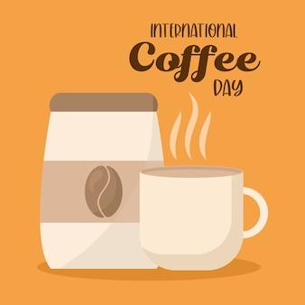 Día internacional del café con diseño de taza y bolsa de bebida con cafeína, desayuno y tema de bebidas.