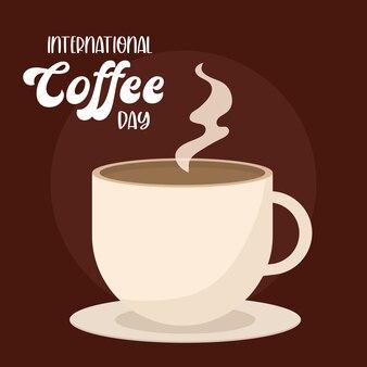 Día internacional del café con diseño de taza caliente con tema de desayuno y bebida con cafeína.