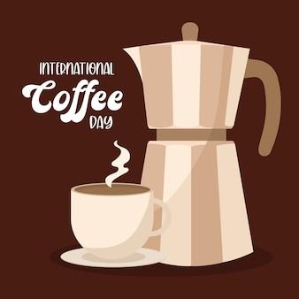 Día internacional del café con diseño de tetera y taza de bebida con cafeína, desayuno y tema de bebidas.