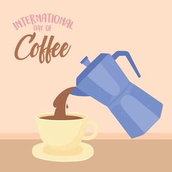 Día internacional del café, hervidor de agua vertiendo en taza, letras