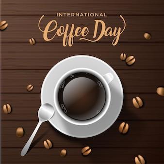 Día internacional del café líquido y granos de café.