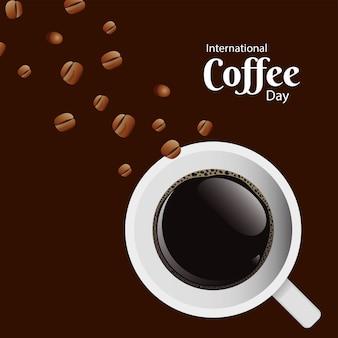 Día internacional del café con taza de café y semillas de diseño de ilustración de vector de escena de vista aérea