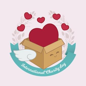 Dia internacional de la caridad con caja de corazones