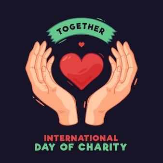Día internacional de caridad con corazón y manos.