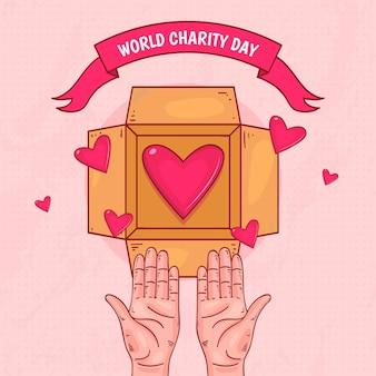 Día internacional de caridad con corazones