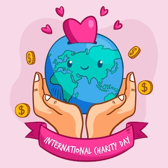Día internacional de la caridad dibujado a mano.