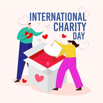 Día internacional de la caridad en diseño plano