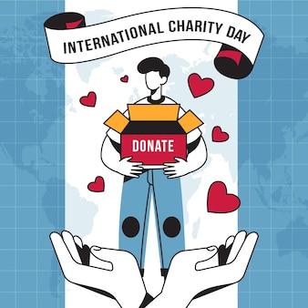 Día internacional de caridad con donaciones de corazón
