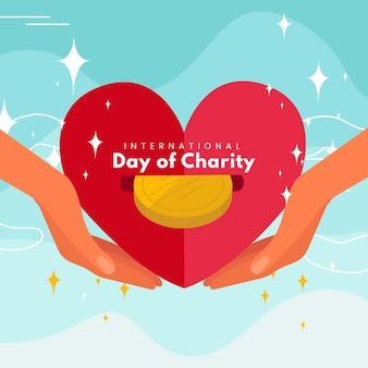 Día internacional de la caridad fondo dibujado a mano con corazón y dinero