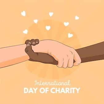Día internacional de la caridad fondo dibujado a mano con las manos