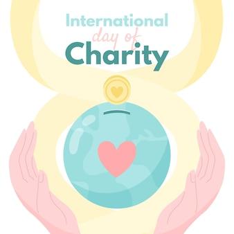 Día internacional de la caridad fondo dibujado a mano