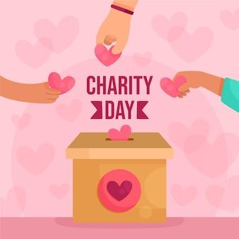 Día internacional de caridad con manos y corazones.
