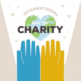 Día internacional de caridad con manos y planeta