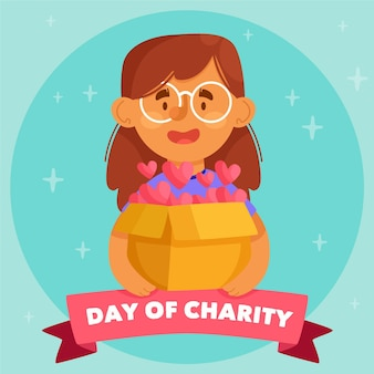 Día internacional de caridad con mujer con caja de corazones