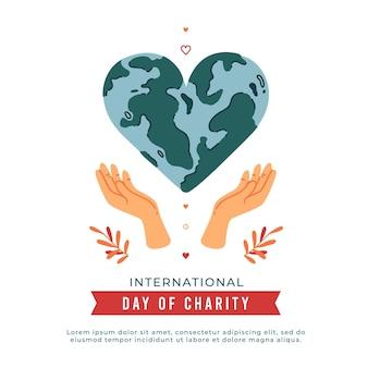 Día internacional de caridad con planeta en forma de corazón