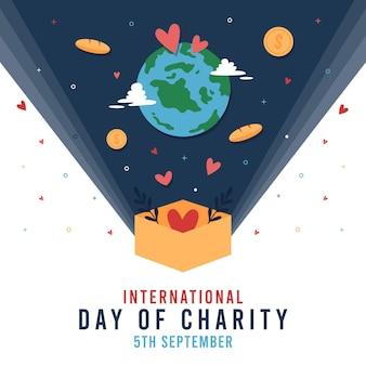 Día internacional de caridad con planeta y monedas