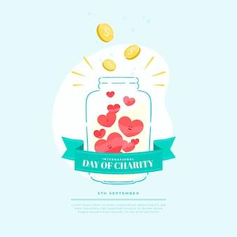 Día internacional de la caridad tarro de dinero y amor