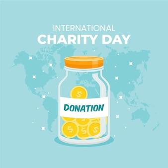 Día internacional de la caridad con tarro de monedas