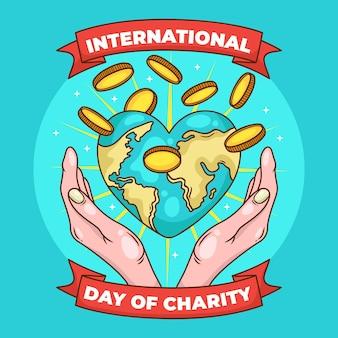 Día internacional de caridad con tierra y monedas.