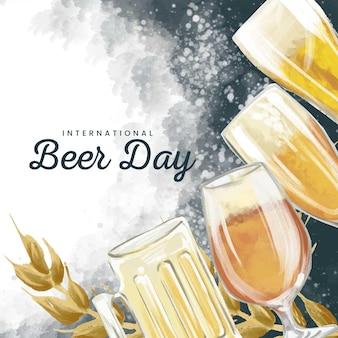 Día internacional de la cerveza en acuarela