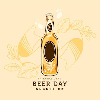 Día internacional de la cerveza con botella.