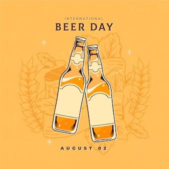 Día internacional de la cerveza con botellas de cerveza.