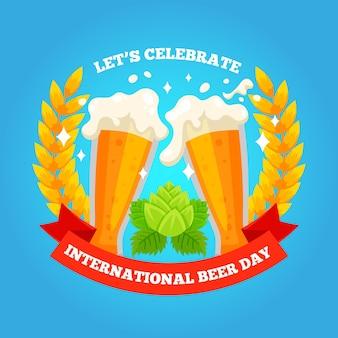 Día internacional de la cerveza en diseño plano