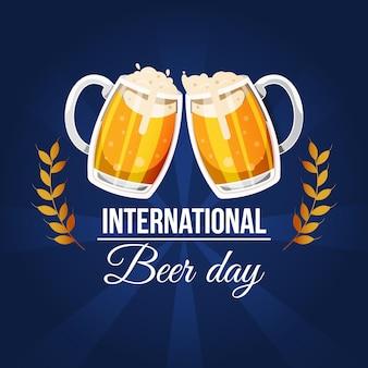 Día internacional de la cerveza con pintas y espuma.