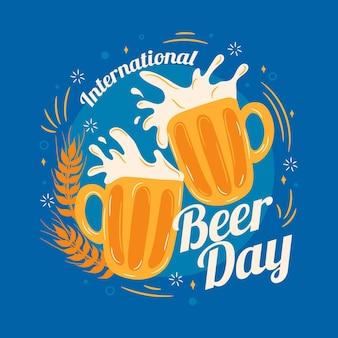 Día internacional de la cerveza con tazas