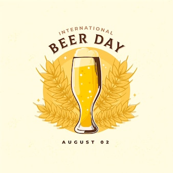 Día internacional de la cerveza con vaso