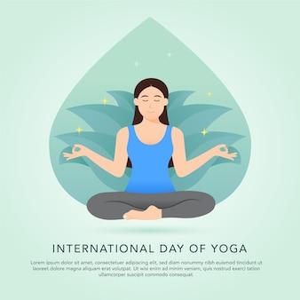 Día internacional del concepto de ilustración de yoga con mujer meditando