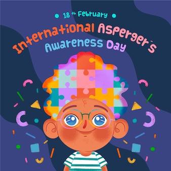 día internacional de concientización sobre el asperger dibujado a mano