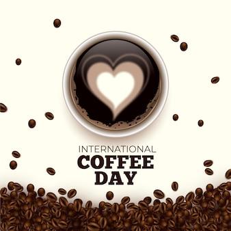 Día internacional de corazones de café en bebidas.