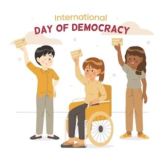 Día internacional de la democracia con personajes.