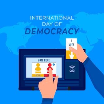 Día internacional de la democracia votando en línea
