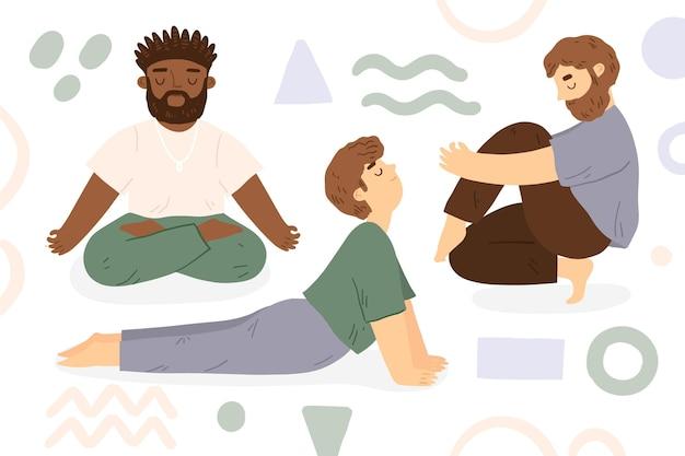 Día internacional del deporte de yoga con amigos.