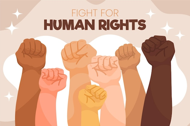 Día internacional de los derechos humanos dibujado a mano