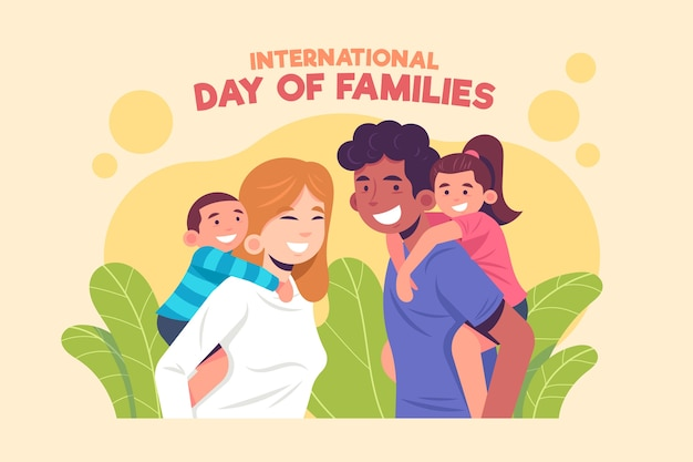Día internacional de las familias en diseño plano.