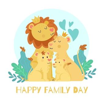 Día internacional de las familias con leones.