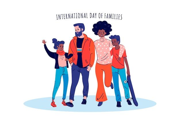 Día internacional de las familias personas de pie